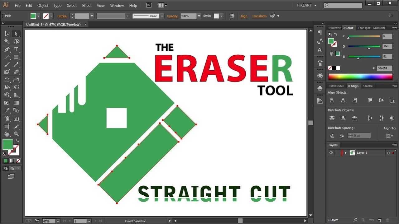 How to Make a Straight Cut with the Eraser Tool in Adobe Illustrator -  Quick Tips
