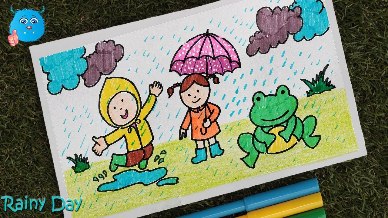 Rainy Season Drawing Easy Learn How To Draw A Scenery Of Kids Enjoying Rainy Day Youtube