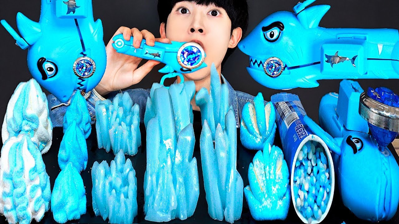 ASMR BLUE CRYSTAL FOOD PARTY 직접만든 다양한 블루 광석 젤리 아이스크림 먹방 DESSERTS JELLY CANDY MUKBANG EATING SOUNDS