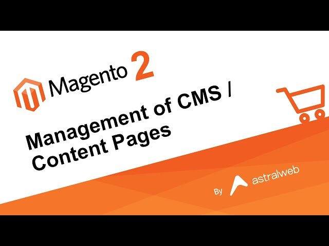 Magento 2 Management of CMS / Content Pages