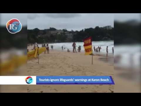 Tourists ignore lifeguards at Phuket's beaches