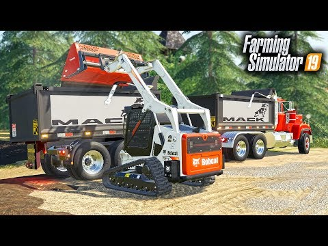 fs19--construction-project!-loading-dump-trucks-with-new-bobcat-skid-steer