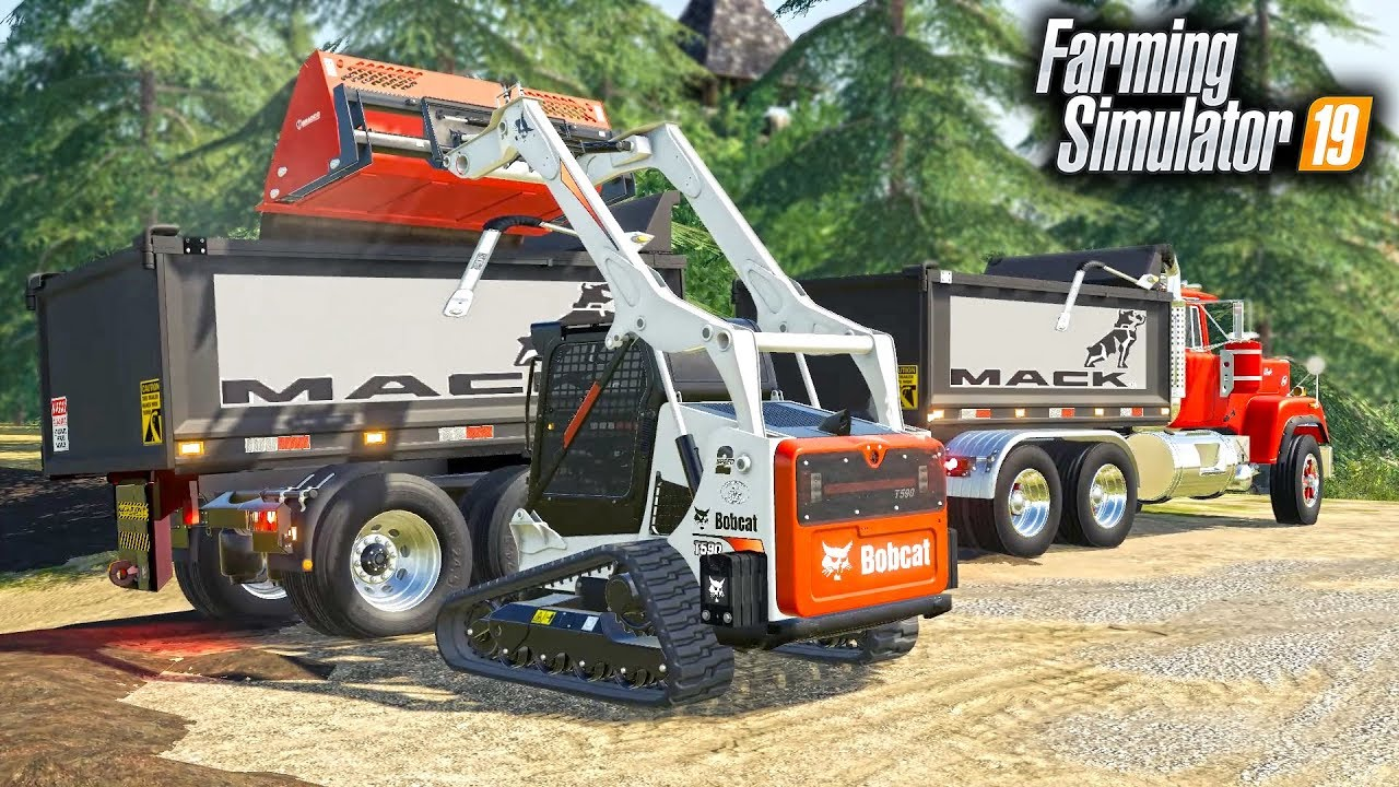 FS19- CONSTRUCTION PROJECT! LOADING DUMP TRUCKS WITH NEW BOBCAT SKID STEER