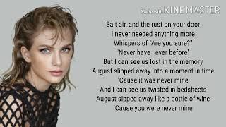 Taylor Swift - August Lyrics
