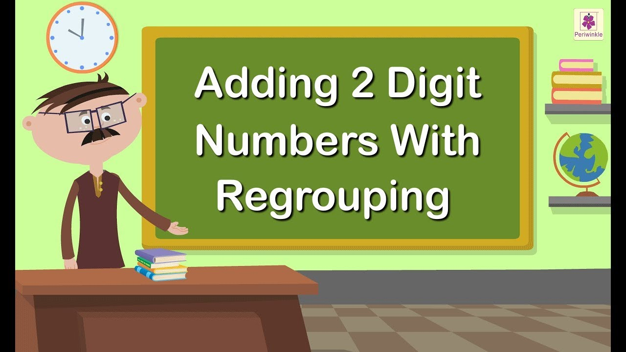 hight resolution of Adding 2 Digit Numbers With Regrouping   Grade 1 Maths For Kids    Periwinkle - YouTube
