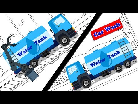 Water Tanker | Car Garage | Car Wash | Trucks Cartoon