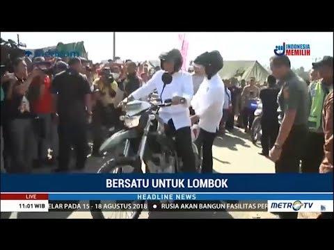 TGB Bonceng Jokowi Tinjau Pengungsi Korban Gempa Lombok
