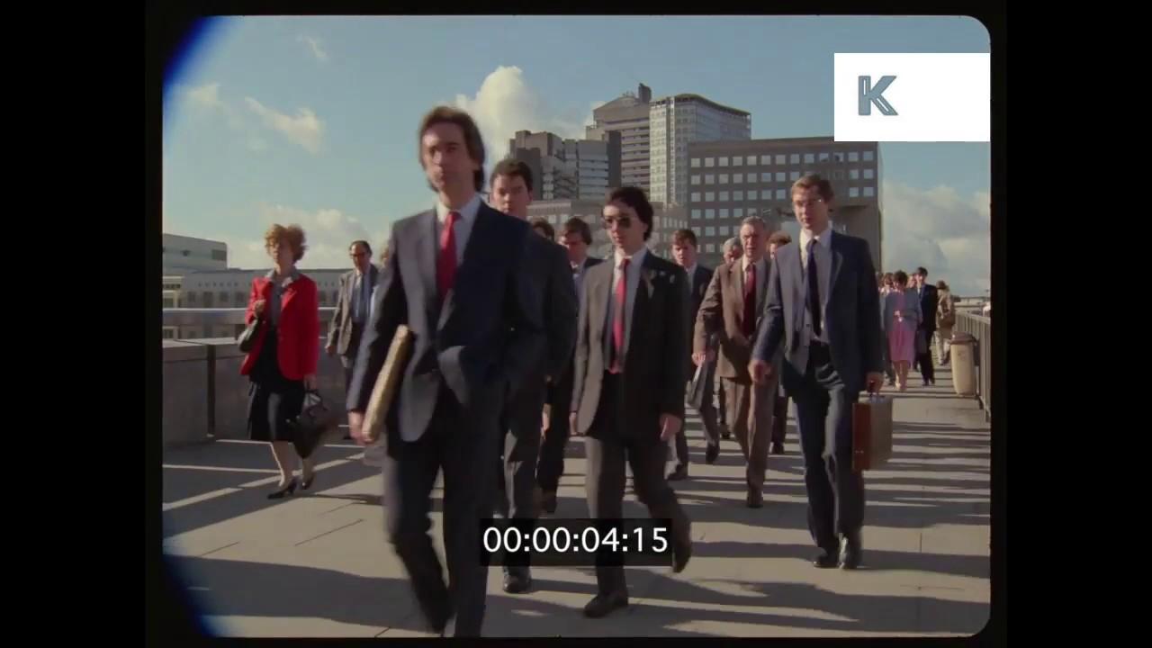 1980s London Commuters Crossing Waterloo Bridge Yuppies UK