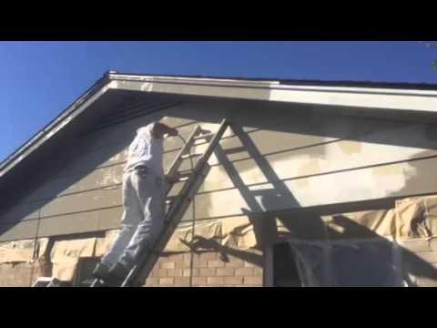 Painting exterior keystone gray sw 7504 horizontal and vertical spray application youtube for Keystone grey sherwin williams exterior