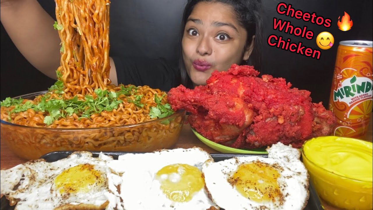 Download CHEETOS FRIED WHOLE CHICKEN WITH SPICY SAMYANG NOODLES AND SUNNY SIDE UP EGGS | FOOD EATING VIDEOS