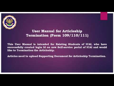 Article: User Manual For Articleship Termination (Form 109/110/111)