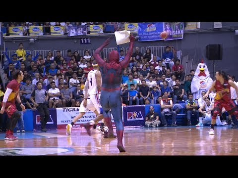 'Spiderman' Crashes PBA Finals Game 5, Hit June Mar Fajardo (VIDEO)