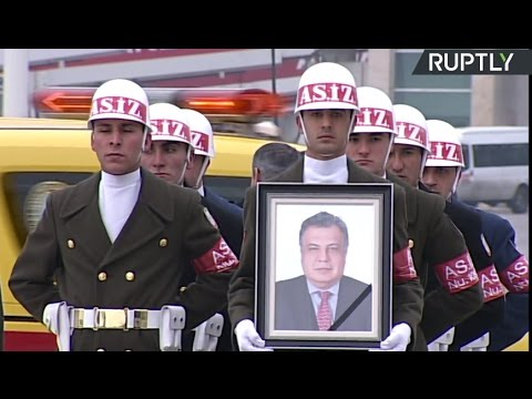 Mourning ceremony as Russian ambassador's body taken to Moscow (Streamed live)
