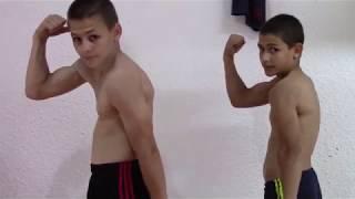 Flexing muscle Giuliano and Claudio