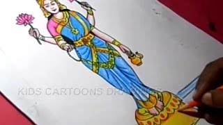 How to Draw Dussehra Navratri Goddess Kasi Vishalakshi Drawing Step by Step for Kids
