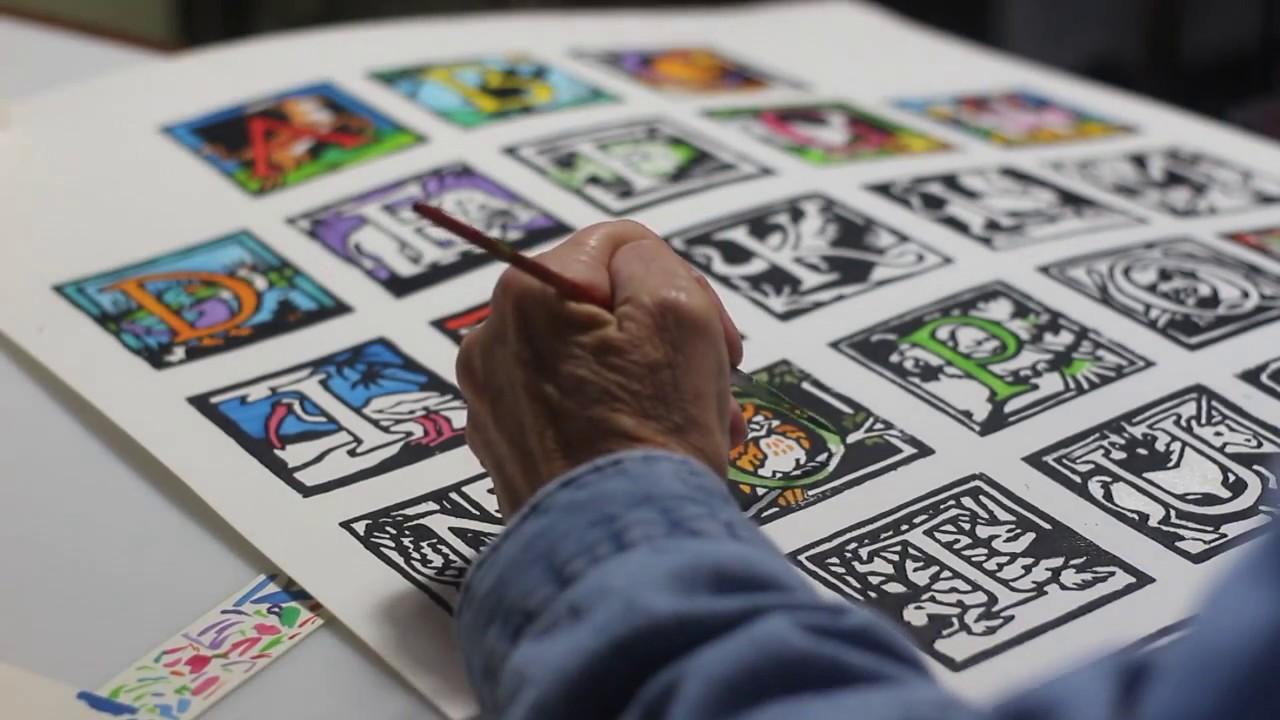 Marys Hand Colored Linoleum Block Print Alphabets