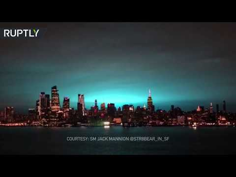 Russian hackers again? Transformer explosion illuminates New York City skyline in surreal neon blue