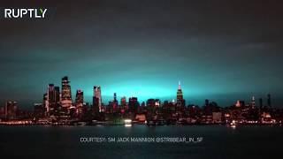 Russian hackers again? Transformer explosion illuminates New York City skyline in surreal neon blue