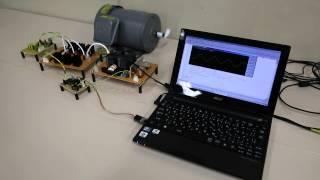 自作のVVVFインバータで誘導電動機を運転させました