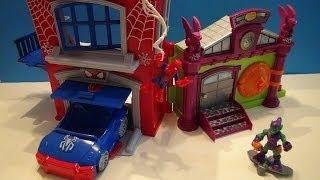 SPIDER-MAN SUPER HERO ADVENTURES MARVEL PLAYSET CRIME FIGHTIN' HEADQUARTERS DISNEY TOY VIDEO