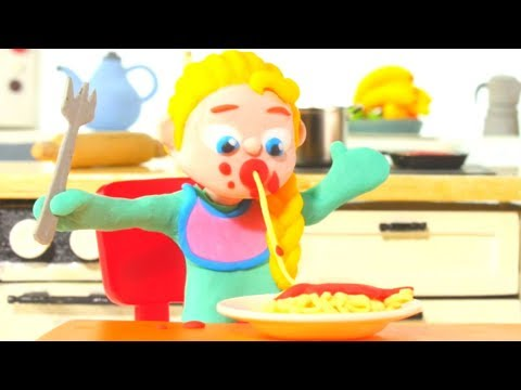 FUNNY KIDS LOVE PASTA ❤ Play Doh Cartoons For Kids