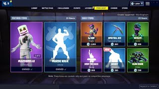 NEW REACTIVE MARSHMELLO SKIN + MARSH WALK DANCE: Fortnite Item Shop