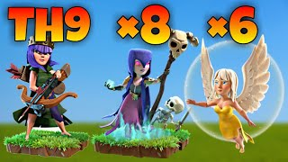 TH9 Ladies Walk: Queen Charge + Witch Walk + GoBo War Attack Strategy | Part 1 | Clash of Clans