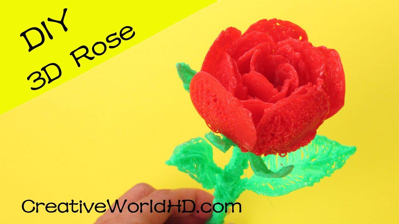 How to Make 3D Rose - 3D Printing Pen Creations/Scribbler DIY Tutorial ...