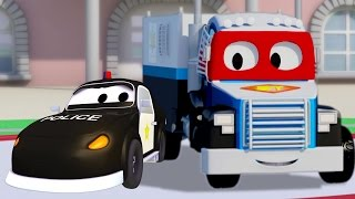 carl super truck and the police car in car city   truck cartoon for kids