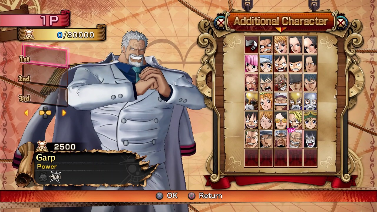 One Piece: Burning Blood - Character Select Screen: Is ...