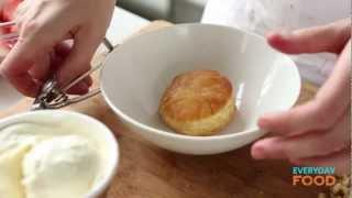 Strawberry Sundae Puff With Chocolate Sauce | Everyday Food With Sarah Carey