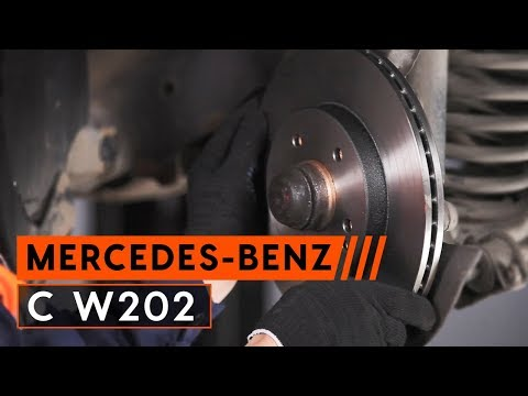 How to replace front brake discs and brake pads MERCEDES-BENZ C W202  [TUTORIAL AUTODOC]