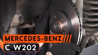 How to change front brake discs and brake pads MERCEDES-BENZ C W202 [TUTORIAL AUTODOC]