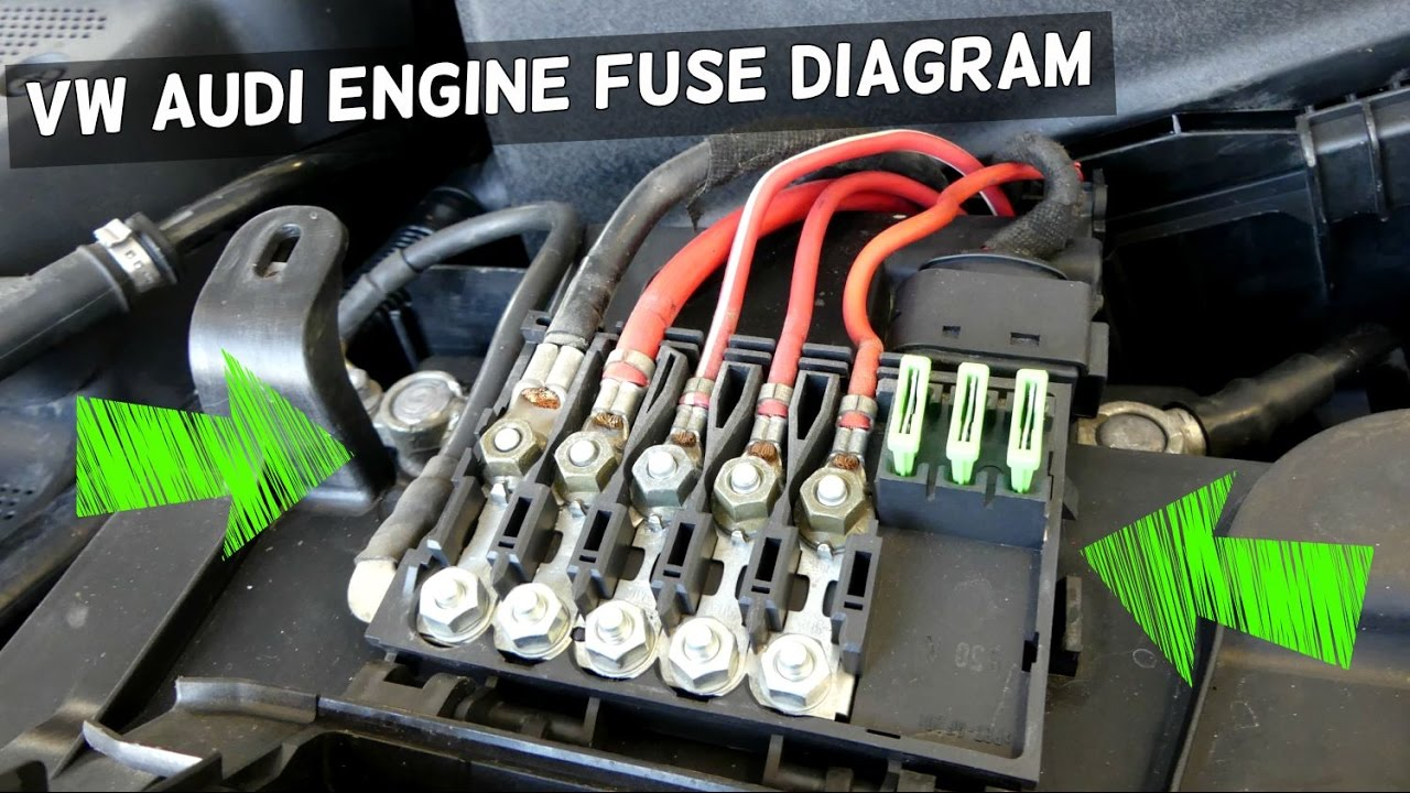 AUDI VW ENGINE BAY FUSES ABOVE BATTERY. DIAGRAM AND DESCRIPTION Vw Golf Mk Battery Fuse Box on