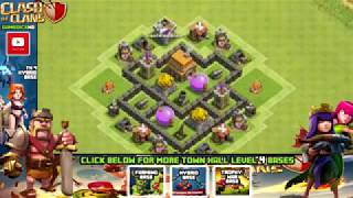 Clash of Clans Town Hall 4 Defense CoC TH4 BEST Hybrid Base Layout Defense Str low