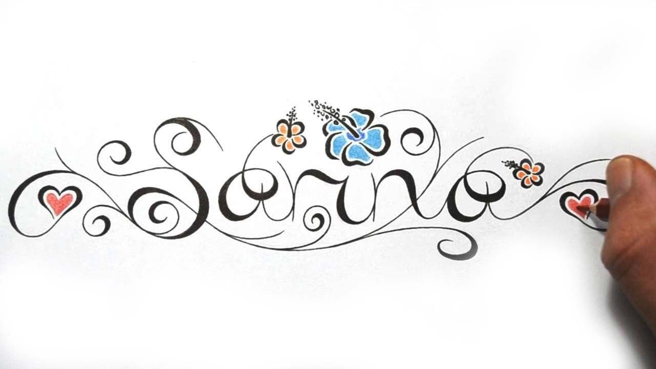 designing cool feminine calligraphy name incorporated into hibiscus