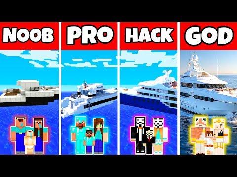Minecraft: FAMILY MODERN YACHT BUILD CHALLENGE - NOOB Vs PRO Vs HACKER Vs GOD In Minecraft