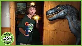 Dinosaurs in Haunted Cabin! Dinosaur Chase in Kids Pretend Play Ghost Adventure with Nerf Toys