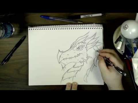 How to Draw a Dragon Head (Fantasy) | SS
