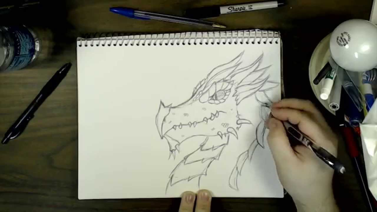 How To Draw A Dragon Head Fantasy Ss Youtube