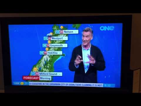 Michael Palin presents the weather forecast on New Zealand breakfast TV