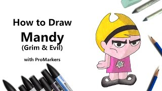 How to Draw and Color Mandy from Grim & Evil with ProMarkers [Speed Drawing]
