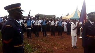 Police Three-volley salute scare villagers at Kongoni in Kakamega during burial of police officer