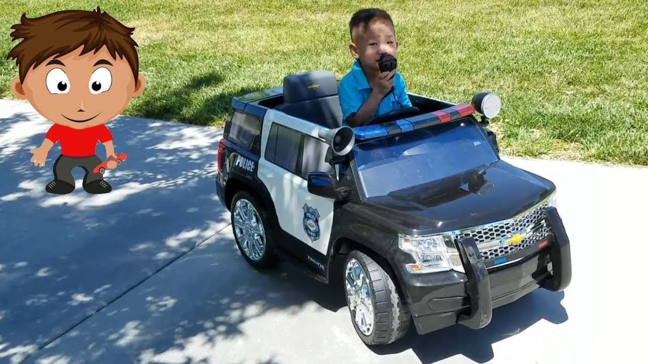 kids police rollplay chevy tahoe police suv car 6 volt battery powered ride on [ 1280 x 720 Pixel ]