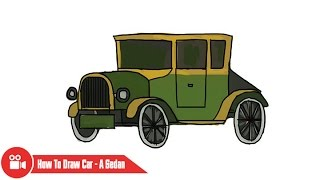 How to draw a car - A Classic Car - Step by step Very simple