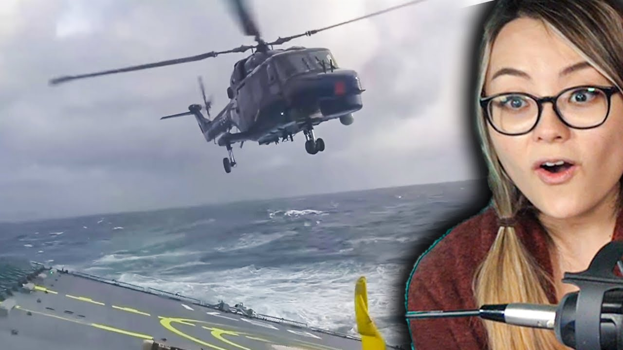Landing A Helicopter On A Small Ship In Rough Sea