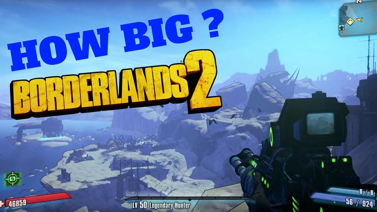 Borderlands 2 Map HOW BIG IS THE MAP in Borderlands 2? Map: Three Horns Divide   YouTube