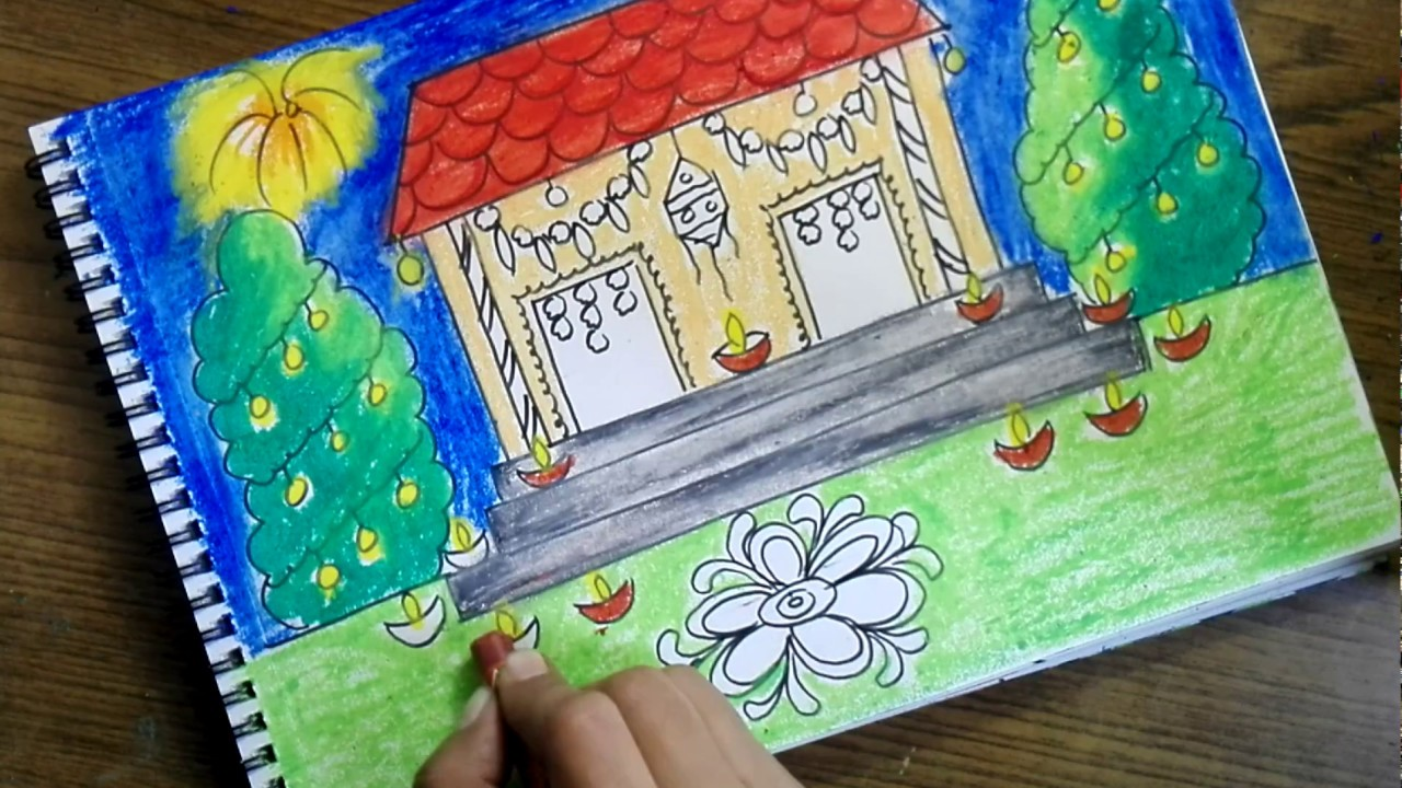 How To Draw Diwali Scene For Kids Very Easy Youtube