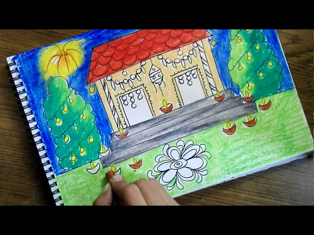 How to draw diwali scene for kids- Very easy