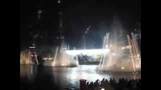 Water fountain in Dubai, Burj Khalifa, Speed Of Yellow-Ain't No Mountain High Enough